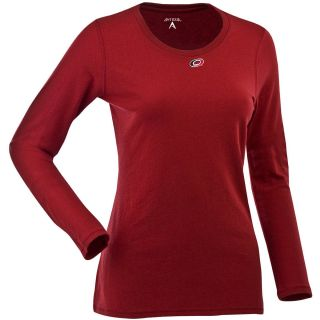 Antigua Womens Carolina Hurricanes Relax LS 100% Cotton Washed Jersey Scoop