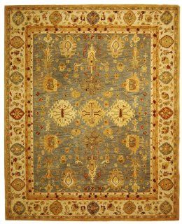 Safavieh AN547A 8 Feet by 10 Feet Anatolia Collection HandmadeHand Spun Wool Area Rug, Blue and Ivory