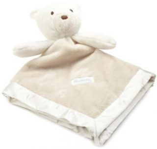 Vitamins Baby boys Newborn Bear Satin Trim Superplush Blankie Buddy, Ivory & Tan, One Size  Nursery Receiving Blankets  Baby