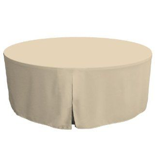 Tablevogue 72 Inch Fitted Round Folding Table Cover, Natural   Tablecloths
