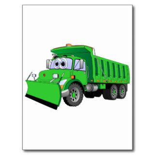 Green Dump Truck Cartoon Post Card