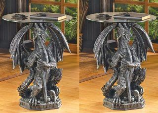 2 DRAGON STATUE ACCENT GLASS TOP TABLES