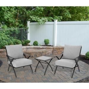 Hampton Bay Marwood 3 Piece Patio Small Space Set with Light Gray Cushions DISCONTINUED 131 008 3SS V2