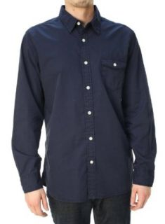 Lucky Brand Men's Basic Button Down Long Sleeve Casual Shirt Navy Blue L at  Men�s Clothing store