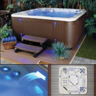 Northern Star, 6 Person, 41 Jet Hot Tub, Brown Cabinet, Multi colored LED Mood Lighting & Waterfall  Outdoor Spas  Patio, Lawn & Garden
