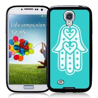 Hamsa Chamsa Hand Of God Turquoise   Protective Designer BLACK Case   Fits Samsung Galaxy S4 i9500 Cell Phones & Accessories
