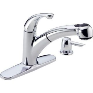 Delta Palo Single Handle Put Out Sprayer Kitchen Faucet in Chrome with Soap Dispenser   DISCONTINUED 467 SD DST