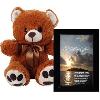 I Miss You Plush Teddy Bear and Love Poem Gift   Sentimental I Miss You Poem in 4x6 Inch Black Picture Frame Toys & Games
