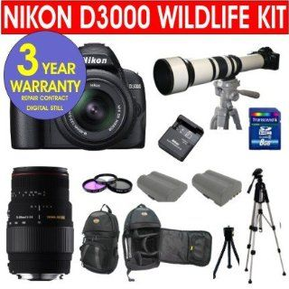 19 Piece Super Zoom Kit with Nikon D3000 10.2 MP Digital SLR Camera with 18 55mm f/3.5 5.6G AF S DX VR Nikkor Zoom Lens + Sigma 70 300mm Telephoto Zoom Lens + Rokinon 650 1300mm Lens with 2X Converter (1300 2600mm) Zoom Lens + 8 GB Memory Card + Multi Coa
