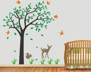 Cute Deer Squirrel Tree with Birds Leaf Grass Home House Art Decals Wall Sticker Vinyl Wall Decal Stickers Baby Livng Bed Room 562   Wall Decor Stickers