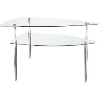 Dainolite GCT 578 CGL SC End Table with Clear Tempered Glass, Satin Chrome