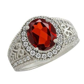 3.33 Ct Oval Red Garnet White Sapphire 14K White Gold Ring Jewelry