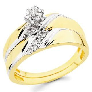 14K Yellow and White 2 Two Tone Gold Women's Round cut Diamond Enagagement Ring and Wedding Band 2 Pieces Bridal Set (0.1 CTW., G H Color, SI Clarity)   Size 4 Goldenmine Jewelry