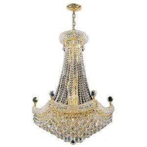 Worldwide Lighting Empire Collection 15 Light Crystal and Gold Chandelier W83074G24