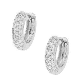 Sterling Silver Silver White Gold Crystals CZ Small Girls Hoop Huggie Earrings Jewelry