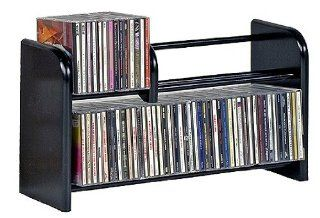 Wood Tech CDRE 88 Solid Wood Media Storage Unit for Table Top or wall Mount   Black Ebony Electronics
