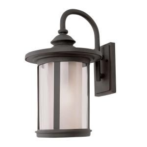 Filament Design Cabernet Collection 1 Light Outdoor Black Coach Lantern with Tea Stain Inner Glass Shade CLI WUP589611