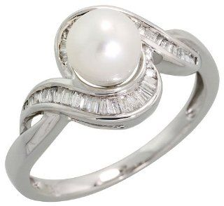 "18k White Gold Swirl Diamond Ring, w/ 0.19 Carat Baguette Diamonds & 1.45 Carats (6mm) White Pearl, 7/16"" (11mm) wide, size 10 Jewelry"
