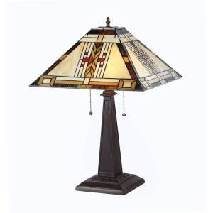 Chloe Lighting Gode 23 in. Tiffany Style Mission Bronze Table Lamp CH33291MS16 TL2