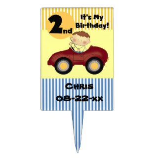 Boy in Red Car 2nd Birthday Cake Topper