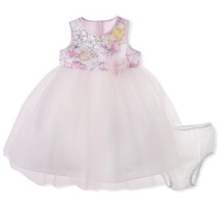 Cherokee Infant Toddler Girls Sleeveless Floral Top Empire Dress   Soft Pink 3T