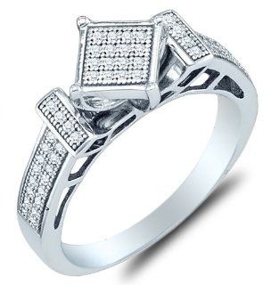 .925 Sterling Silver Plated in White Gold Rhodium Diamond Engagement Ring   Square Princess Shape Center Setting w/ Micro Pave Set Round Diamonds   (1/5 cttw) Sonia Jewels Jewelry
