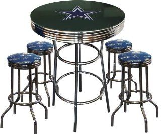 Dallas Cowboys Logo Glass Top Chrome Bar Pub Table Set with 4 Swivel Bar Stools   Home Bars