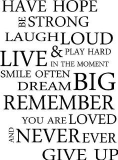 HAVE HOPE BE STRONG LAUGH LOUD & PLAY HARD LIVE IN THE MOMENT SMILE OFTEN DREAM BIG REMEMBER YOU ARE LOVED AND NEVER EVER GIVE UP inspirational wall sayings arts   Wall Banners