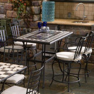 Alfresco Home Gibraltar Indoor Outdoor Marble Mosaic Gathering Height 4 Seat Dining Set  Outdoor And Patio Furniture Sets  Patio, Lawn & Garden