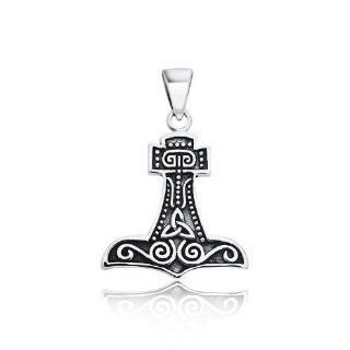 Fathers Day Gifts Thors Hammer Celtic Knot 925 Sterling Silver Pendant Jewelry