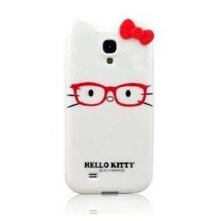 United Electek Cute 3D Soft Silicone Hello Kitty with Glasses Case Cover for Samsung Galaxy S4 i9500   Purple Cell Phones & Accessories