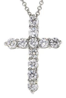 "18k White Gold Diamond Cross Pendant (0.78 cttw, E F Color, VS1 VS2 Clarity), 16"" Jewelry"