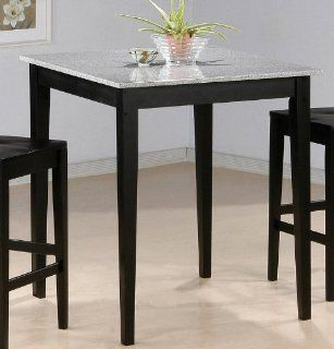 Bar Table with Granite Top Black Finish   Granite Top Pub Table