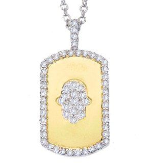 Unique 14k two tone gold diamonds HAMSA HAND OF GOD good luck dog tag pendant necklace Jewelry