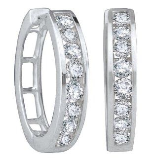14k White Gold Natural Round cut Diamond Womens Ladies Channel set Fashion Hoop Earrings   .50 (1/2) Ct.t.w. Jewelry