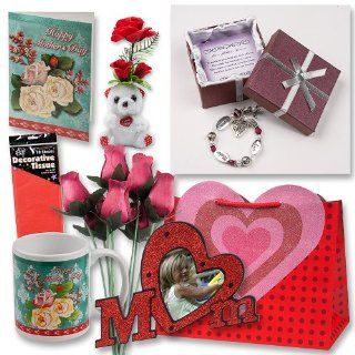 "Mothers Day Gift Set Complete with Gift Bag, Red Tissue Paper, Love Mother Forever Bracelet, Bouquet of 8 Wire Stem Burgundy Roses, ""I Love You"" Mini Bear, Large Greeting Card, Picture Frame and Mug Toys & Games"