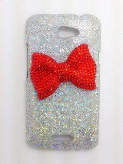 Silver Special Party Cute Bling Red Bow Diamond Case Cover for HTC One X XL Cell Phones & Accessories