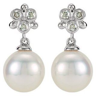 14K White Gold .08ctw Frwa Culturedpearl & Diamond Earrings Jewelry