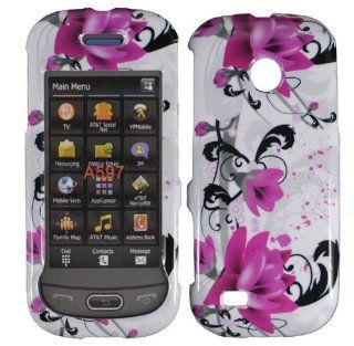 White Purple Flower Hard Cover Case for Samsung Eternity II 2 SGH A597 Cell Phones & Accessories
