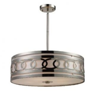 Elk Lighting 10125 5 Zarah 5 Light Modern Pendant Lighting Fixture, Polished Nickel, Cream Fabric With Frosted White Glass Diffuser, B12728   Ceiling Pendant Fixtures
