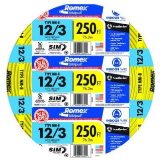 Southwire 250 ft. Yellow 12 3 Romex NM B W/G Wire 63947655