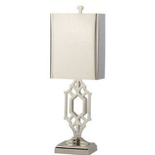 Thomas O'Brien Silhouette Fretwork Library Light in Polished Nickel by Visual Comfort TOB3607PN PN   Table Lamps