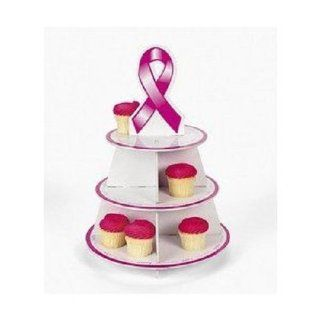 Foam Breast Cancer Awareness Pink Ribbon Cupcake Tray Holder Health & Personal Care