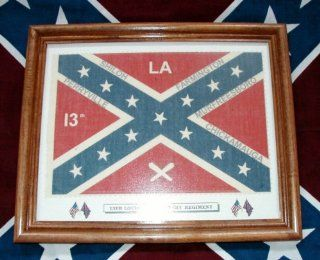Framed, Confederate Civil War Flag.13th Louisiana Infantry  Other Products  Patio, Lawn & Garden