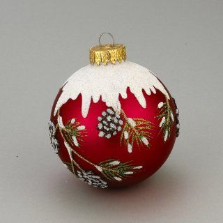 Pack of 18 Red Glass Ball with Snowy Pine Cone Design Christmas Ornaments 3.25""