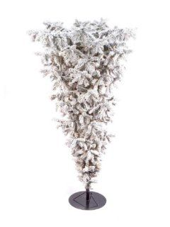 7.5' Pre Lit Flocked Artificial Upside Down Christmas Tree   Clear Lights