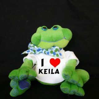 Plush Frog (Thad Polz) toy with I Love Keila (first name/surname/nickname) Toys & Games