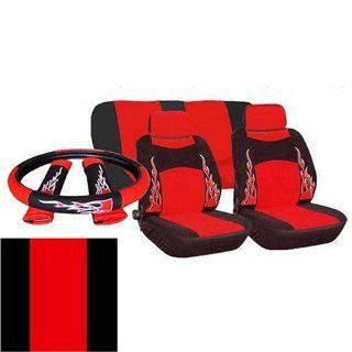 9pc Universal Flame Bucket Car Seat Covers   RED and BLACK Automotive