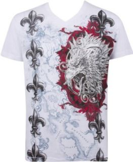 Eagle Head Metallic Silver Embossed Short Sleeve V Neck Cotton Mens Fashion T Shirt at  Men�s Clothing store