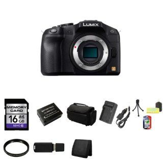 Panasonic Lumix G Series DMC G6 Compact System Digital Camera Body Only (Black) + 16GB SDHC Class 10 Memory Card + Compact AC/DC Charger for DMW BLC12 Battery + 46mm UV Filter + DMW BLC12 Rechargeable Lithium ion Battery (7.2V, 1200mAh) + Deluxe Soft Large